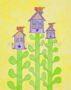 A colored pencil illustration by April Christenson of three birds on top of their new nests