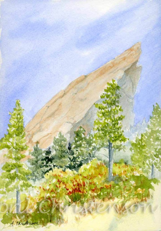 Watercolor representation of the Flatirons done by April Christenson