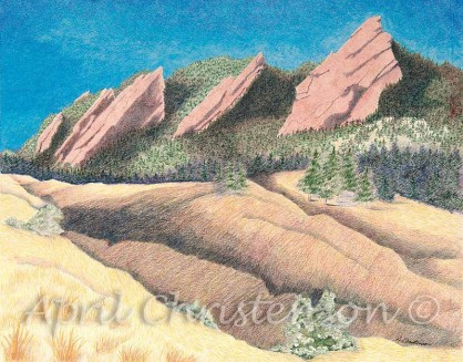 A colored pencil drawing of the Boulder Flatirons by April Christenson