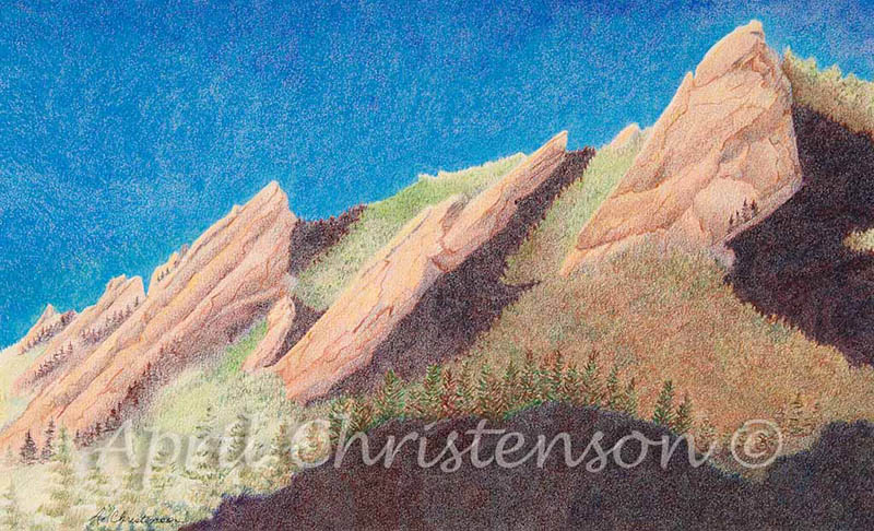 Colored pencil drawing of the Flatirons by April Christenson