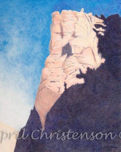 Colored pencil drawing of The Bastille in Eldorado Canyon by April Christenson