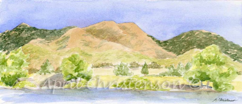 Watercolor painting by April Christenson of the foothills lakeside