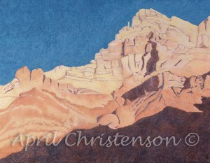 This is a colored pencil drawing, the original done on Rising museum board. This was drawn from a photograph I took while backpacking down to the bottom off the canyon. I loved the sharp contrast and varied shapes of the shadows on the canyon walls. This piece can be purchased as a print at Art Span.