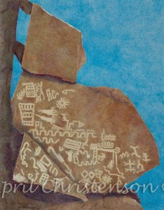 Grapevine Canyon petroglyphs in colored pencil by April Christenson