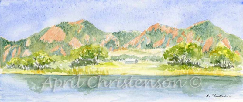 Watercolor of the Boulder, CO Flatirons from Viele Lake by April Christenson