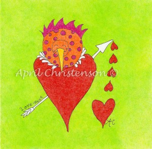A bird nesting in a heart by artist April Christenson