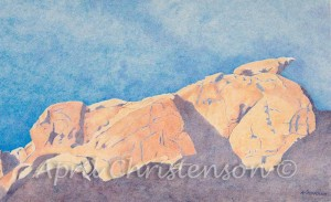 A colored pencil drawing of Valley of Fire by April Christenson
