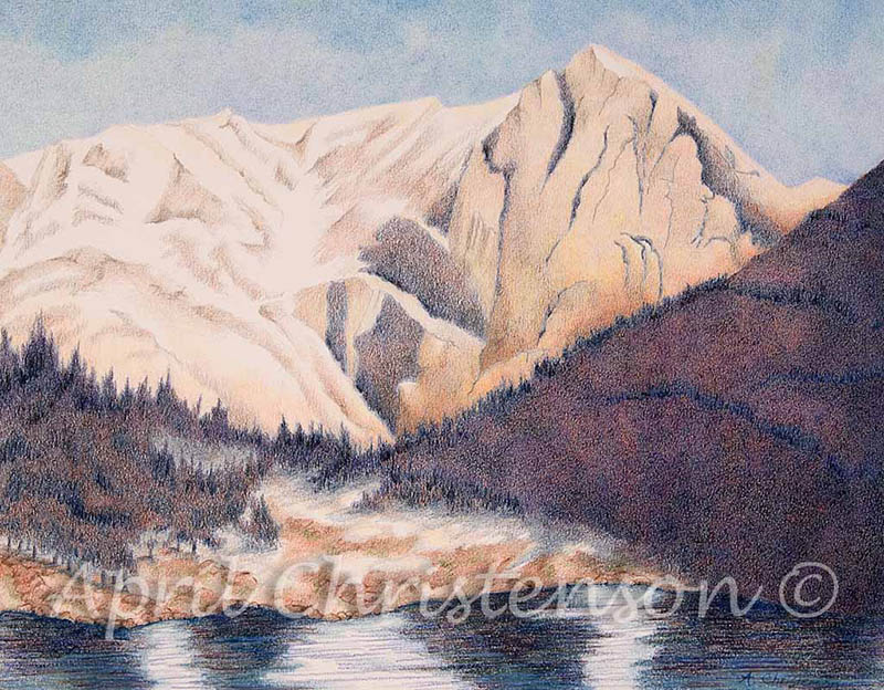 Colored pencil drawing of Mount Alice by April Christenson