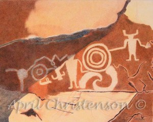This is an original art work done in colored pencil on Rising Museum Board. It was drawn from a photograph I took on a day hike in Dinosaur National Monument in Colorado. I really liked how the petroglyphs were tucked into the rock feature. This piece is available at Art Span as a print.