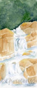 Watercolor painting of a waterfall by April Christenson