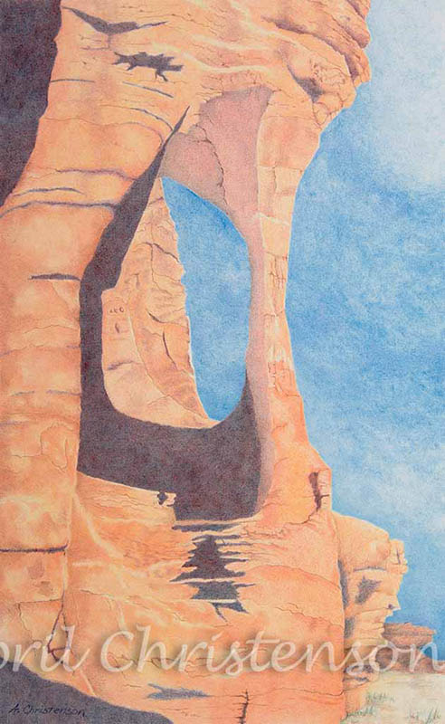 Colored pencil drawing of a rock formation in Valley of Fire State Park by April Christenson
