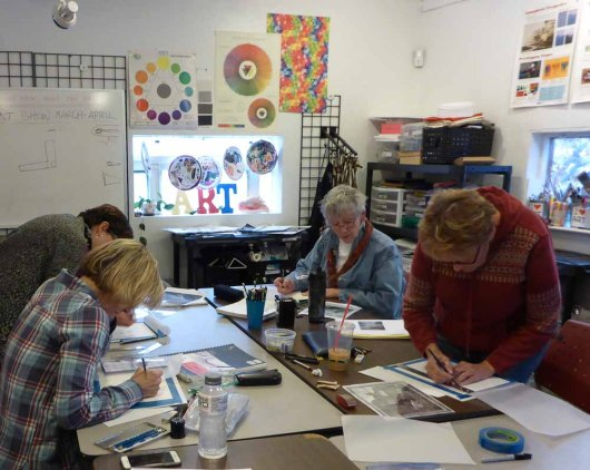 Drawing class in action! There is nothing like drawing for stress relief.